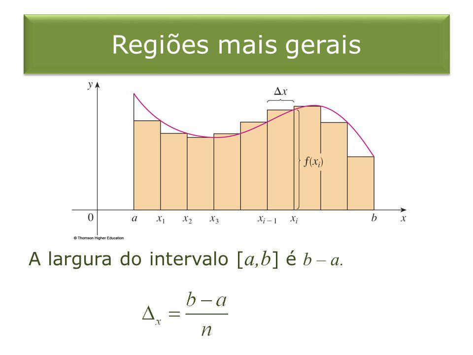 Regiões mais gerais A largura do intervalo [a,b] é b – a.